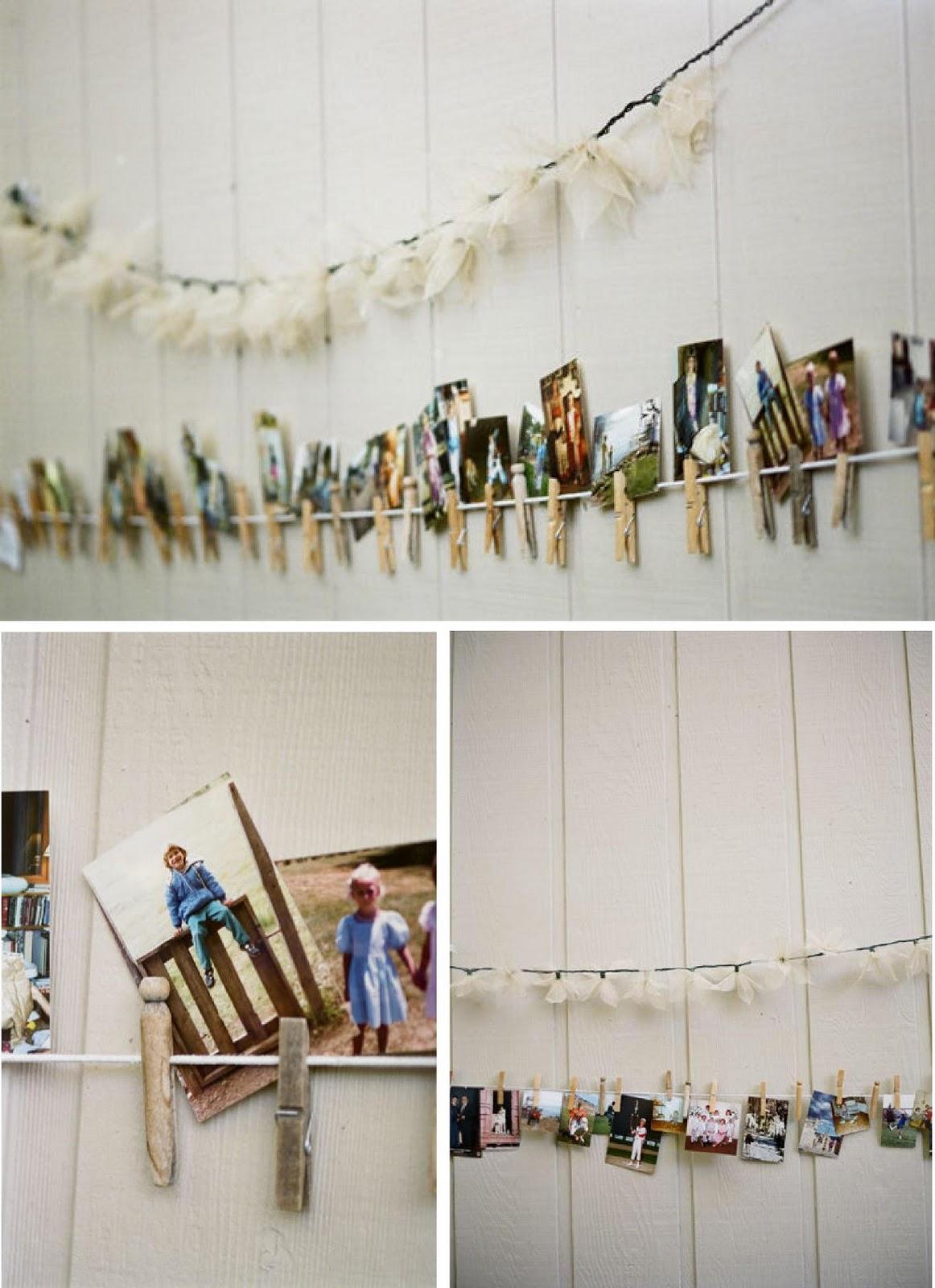 Fotos y pinzas para decorar tu boda el taller de las for Colgadores de ropa de pared