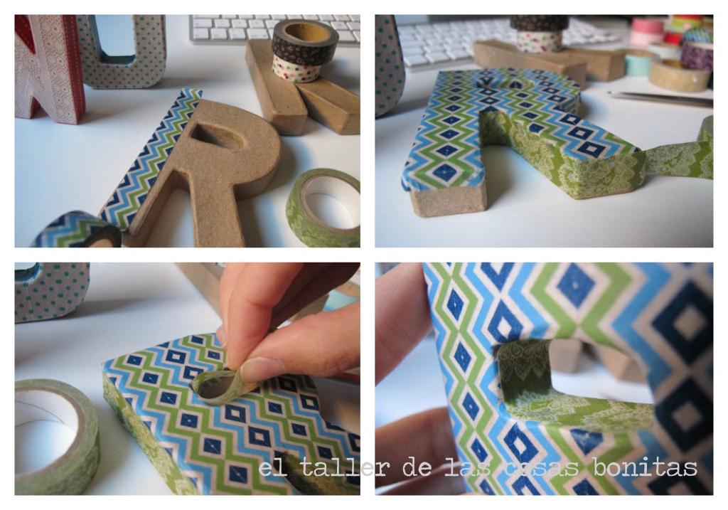 Diy tutorial letras cart n y washi tape el taller de las cosas bonitas - Letras de corcho decoradas ...