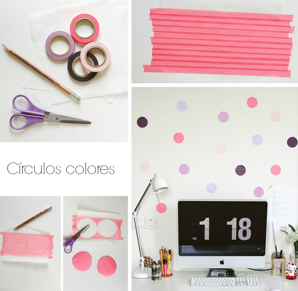 Diy c mo decorar paredes con washi tape y polka dots el - Decorar con fotos una pared ...