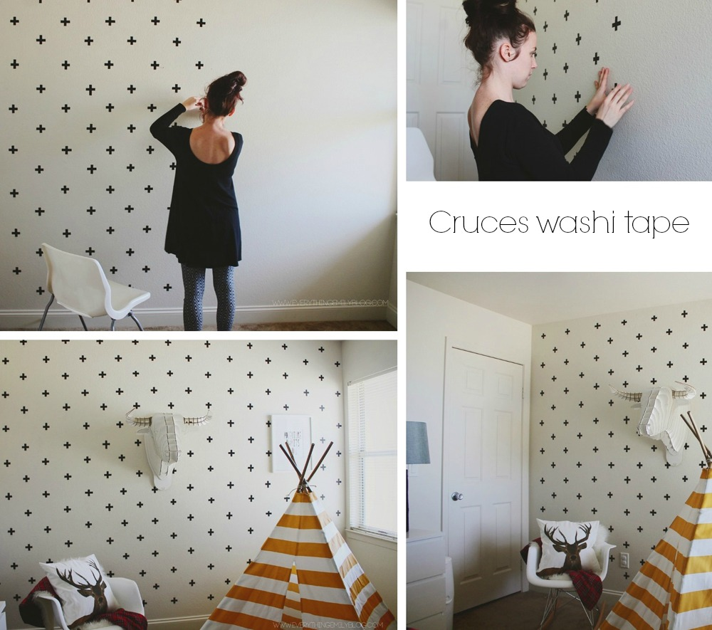 Diy c mo decorar paredes con washi tape y polka dots el - Manualidades para decorar paredes ...