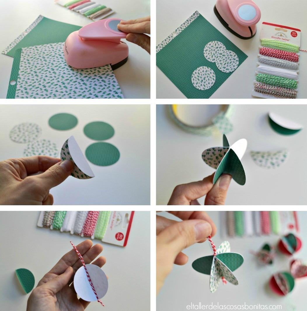 Adornos navide os de papel f ciles el taller de las for Decoracion navidena con papel
