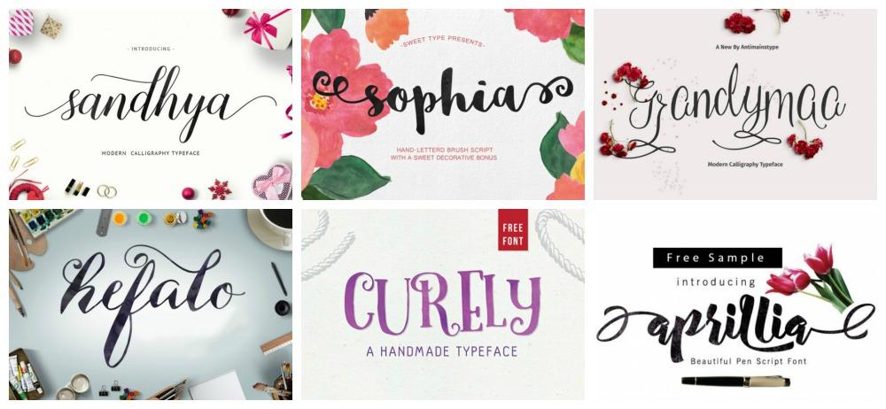 tipografia caligrafia a mano gratis